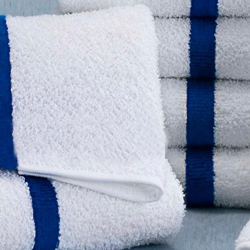 luxury Resort swimming pool and beach towel with blue stripe keeps dry at best wholesale price